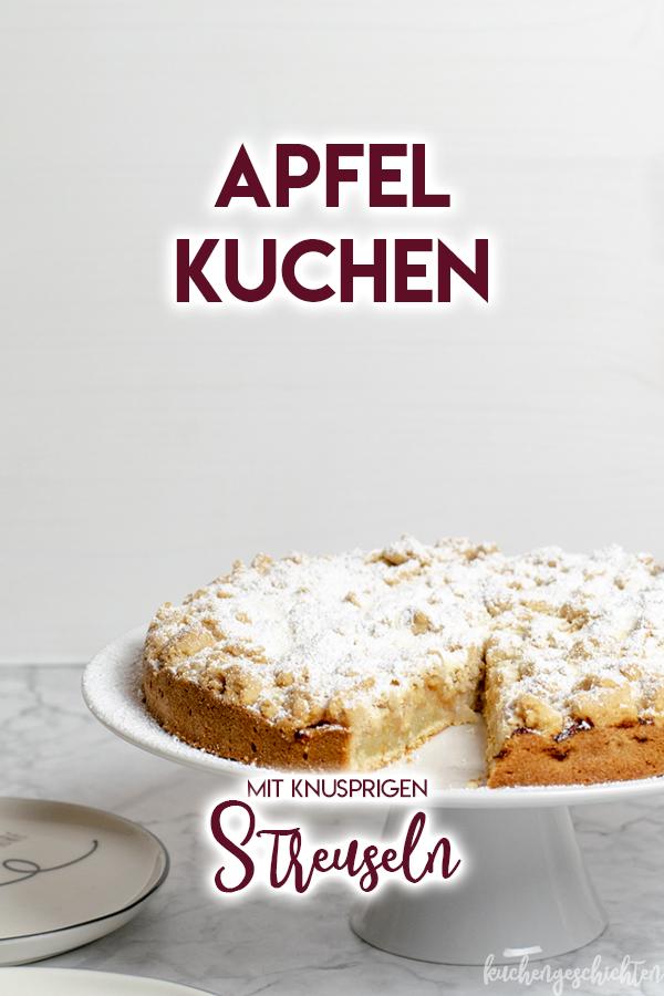 Super saftiger Apfel-Streusel-Kuchen mit knusprigen Streuseln. Einfach zuzubereiten, schnell gebacken, perfekt mit einer Kugel Vanilleeis! | kuchengeschichten