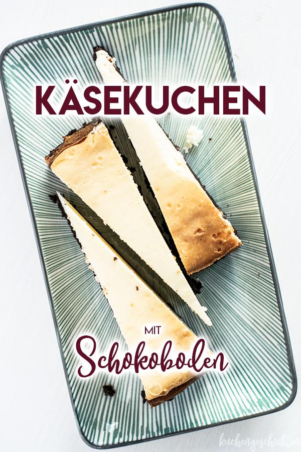 Cremiger Käsekuchen mit Quark und Brownieboden | kuchengeschichten