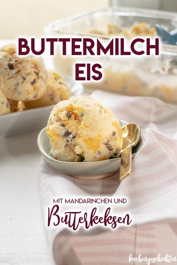 Selbstgemachtes, cremiges Mandarinen-Buttermilch-Eis mit Butterkeksen und Schokolade | kuchengeschichten