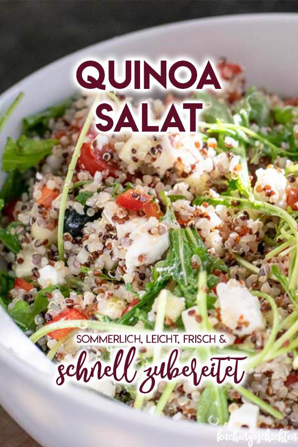 Frischer, sommerlicher Quinoasalat mit knackigen Tomaten, frischen Gurken, süßen Heidelbeeren und salzigem Feta. Genau das, was an heißen Tagen einfach lecker schmeckt. Auch perfekt zum Grillen! | kuchengeschichten