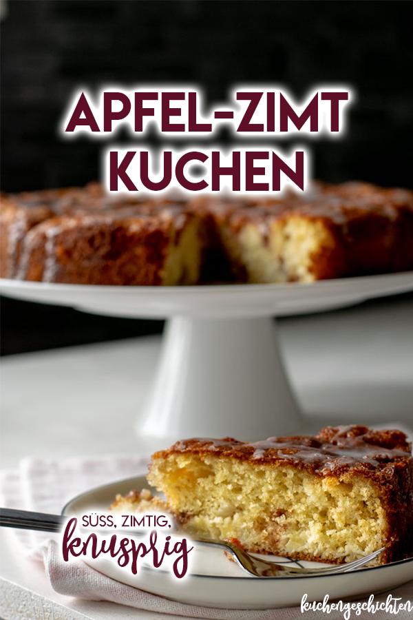 Saftiger Apfelkuchen mit knusprigen Zimtflecken und süßem Zuckerguss. Perfekt für die Apfelsaison und als Herbsteinstimmung. | kuchengeschichten