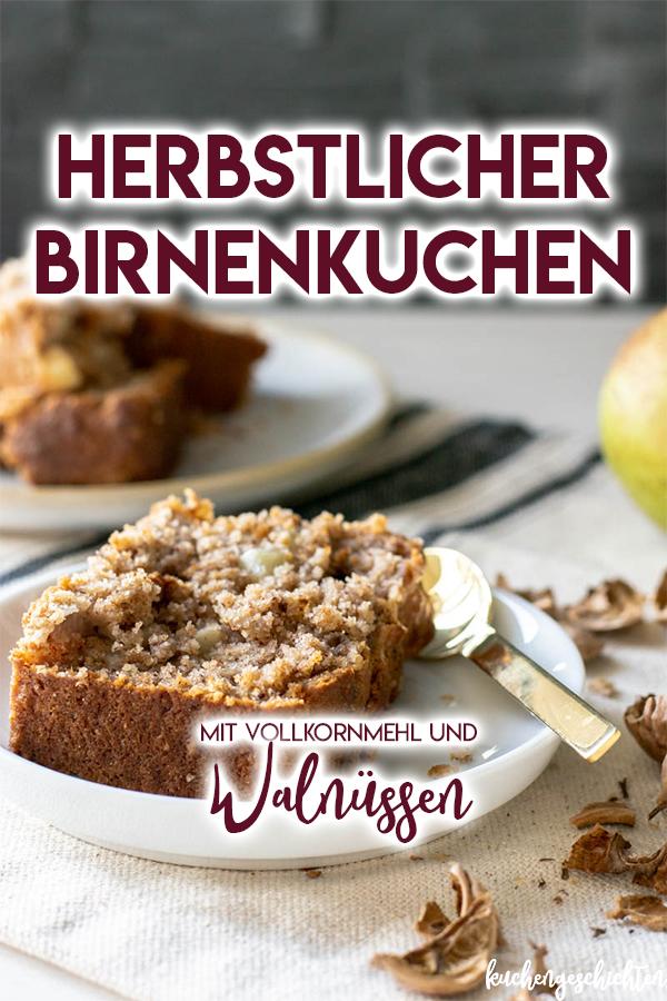 Herbstlich-saftiger Birnenkuchen mit Dinkelmehl, der vegan und super schnell zuzubereiten ist. Perfekt für einen Sonntagskaffee, zum Frühstück, oder einfach zwischendurch.