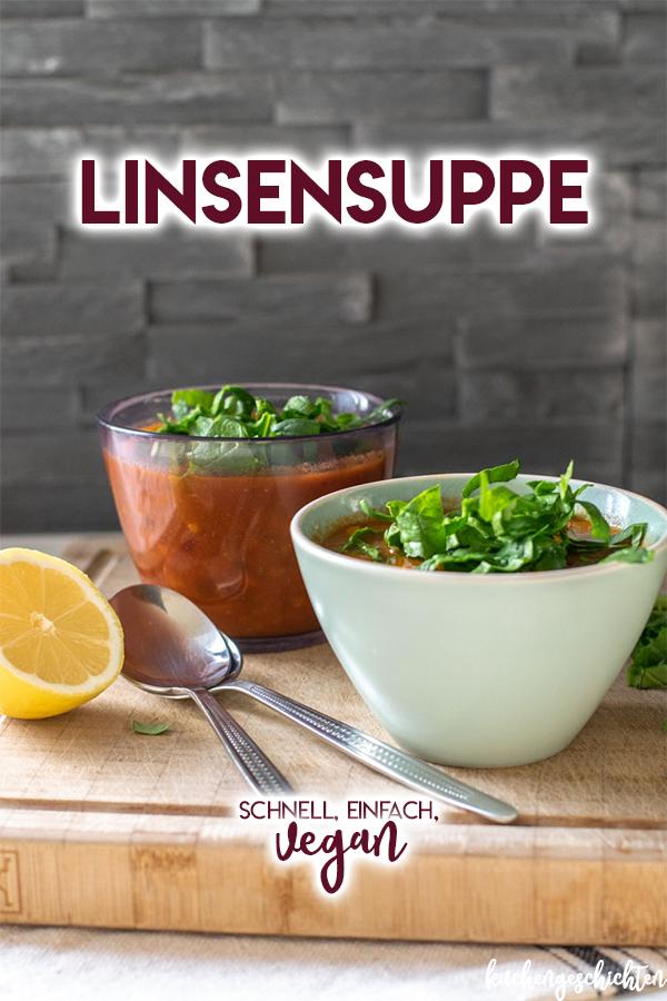 Allerbeste vegane Linsensuppe. Schön wärmend, gesund, cremig, lecker... einfach das perfekte Rezept für einen winterlichen Tag. | kuchengeschichten