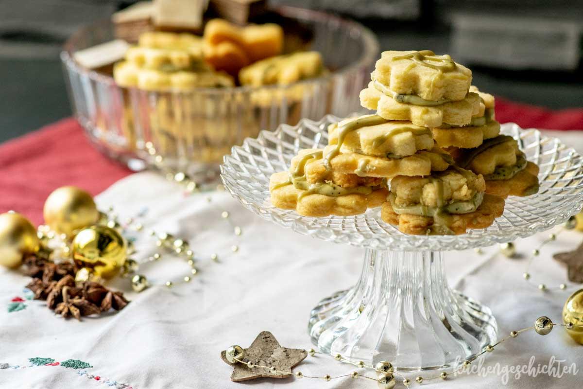 Matcha-Doppeldecker-Plätzchen | kuchengeschichten